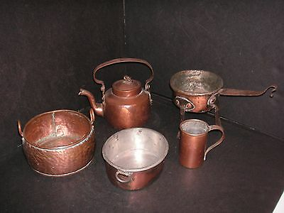 Antique SWEDISH Copper Lot - 5 Hand Forged Pieces  NICE LOT!!  Very Old
