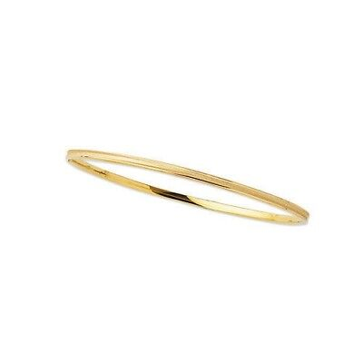 "14K Solid Yellow Gold Tubular Stackable Bangle Bracelet 8"" 2mm wide"
