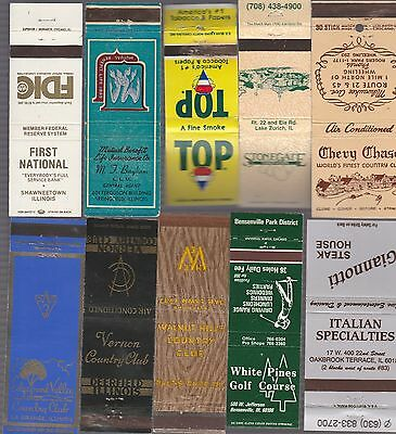 Lot Of 20 Different Illinois Matchbook Covers.  #9