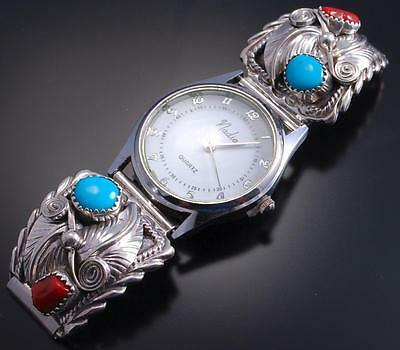 Silver Turquoise and Coral w/ Feather Mens Watchband by RB - 6K21A