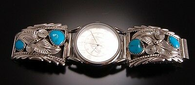 Silver Turquoise and Feather Men's Watchband by RB - 6K21C