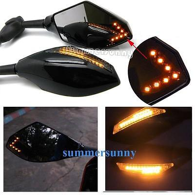Motorcycle Led Turn Signal Side Mirrors For 2001 2002 2003 Suzuki Gsxr 600 750