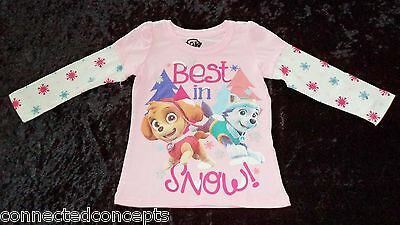 Christmas Paw Patrol Best in Snow Pink Toddler Girls T-Shirt (SIZES: 2T - 5T)