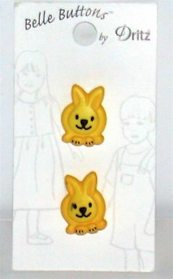 """Dritz Sitting Bunny Shank Buttons ~ Yellow ~ .75/"""" L x .62/"""" Wide  **NEW** 4"""