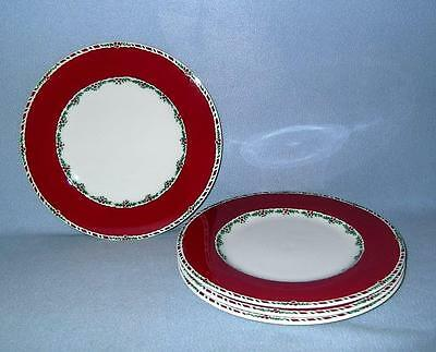 Fitz and Floyd Yuletide Holiday Red 4 Dinner Plates