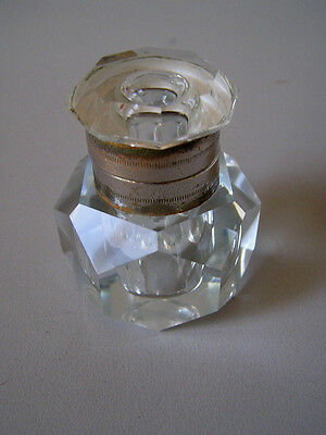 Unusual ANTIQUE FACETED GLASS INKWELL 1910