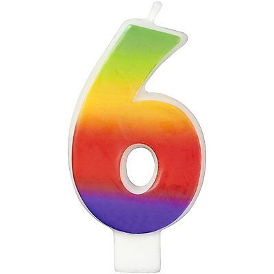 "Wilton 3"" Multicolor Rainbow Numeral 6 Decorative Party Birthday Cake Candle"