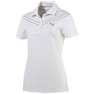 Puma W Chevron Polo Mujer Golf Seco Cell WHITE/A RAYAS