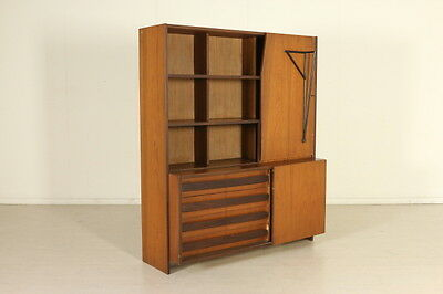 Bookcase with Drawers and Retractable Table Walnut Veneer Vintage Italy 1960s