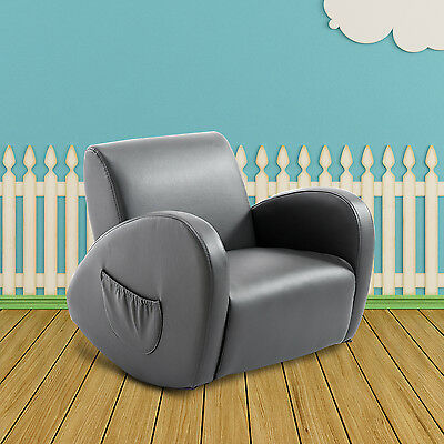 Qaba Faux Leather Kids Sofa Rocking Armchair Room Furniture w/ Side Pocket Gray
