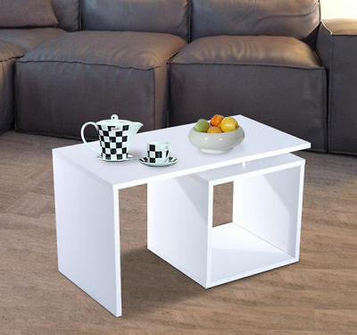 """30.3"""" Cube Side Coffee End Table Tray TV Lap Stand Living Room Furniture White"""
