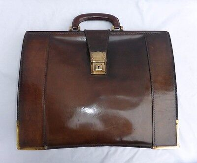 Fine Quality Vintage Leather Gladstone Briefcase Document Case by Norris