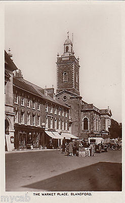 Postcard Blandford Forum Dorset view of The Market Place RP by Hobbs