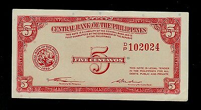 Philippines  5 Centavos  Nd ( 1949 )  D/p  Pick # 125  Xf  Banknote