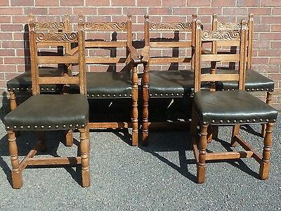 Set 6 vintage Arts & Crafts style solid carved oak leather seat dining chairs