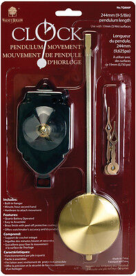 """Pendulum Clock Movement 9.625""""-For .75"""" Surfaces"""