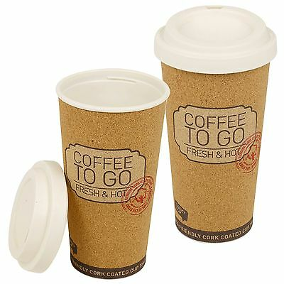 Cork Insulated Hot Cup 500ml Reusable Eco Friendly With Lid On The Go Coffee Tea