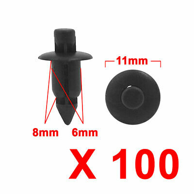100 Pcs 6mm Plastic Black Push Rivets Fastener Door Trim Fender for Auto Car