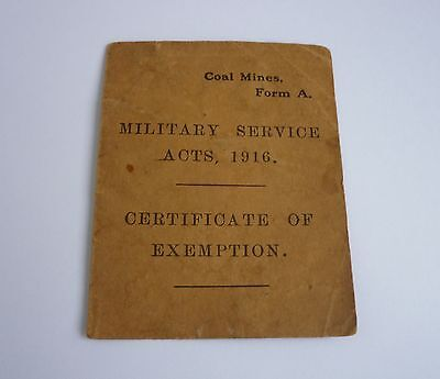 WW1 Military Service Acts, 1916 Certificate of Exemption