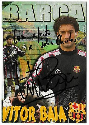 Fc Barcelona 1996-97 Official Football Postcard Signed By Vitor Baia
