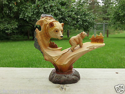 """Bear Wood Carving Country 7.5"""" x 6""""   Cottage Cabin Resin Table Decor New"""