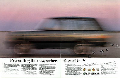 Presenting the new, rather faster Range Rover ad 1989