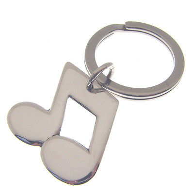 Silver Music Notes Keyring.  Hallmarked Sterling Silver Music Note Key Ring