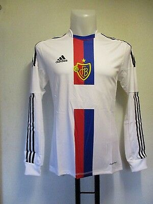 F.c.basel 2013/14 L/s Player Issue Away Shirt By Adidas Adults Size Small New