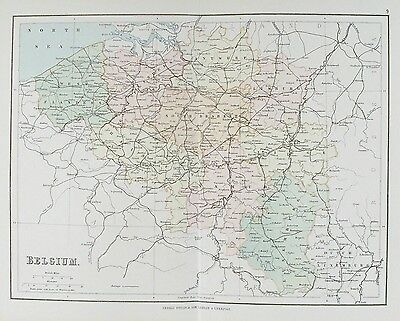 OLD ANTIQUE MAP BELGIUM by G PHILIP c1879 EUROPE PRINTED COLOUR