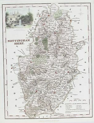 OLD ANTIQUE MAP NOTTINGHAMSHIRE by A FULLARTON c1840's VIEW NEWSTEAD ABBEY