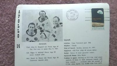 Space Apollo 14 Cape Canaveral Launch  Cacheted  3-D Card Jan 31 1971