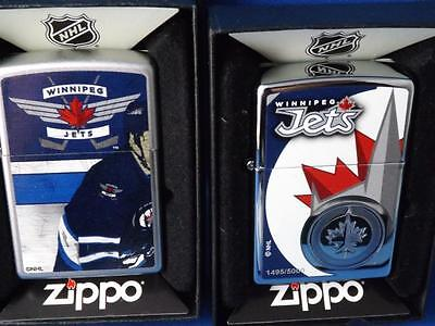 WINNIPEG JETS ZIPPO LIGHTER GIFT LOT NUMBERED 1495/5000 & 1rst YEAR NHL HOCKEY