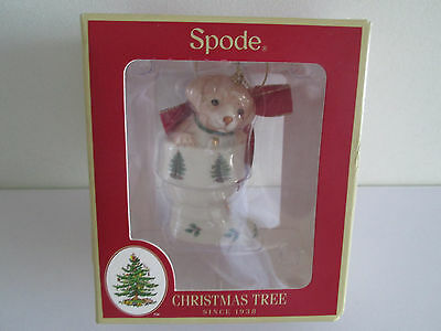 """*wow* Spode Christmas Tree Ornament Puppy In Stocking Boxed Unused 3.25"""" Long"""