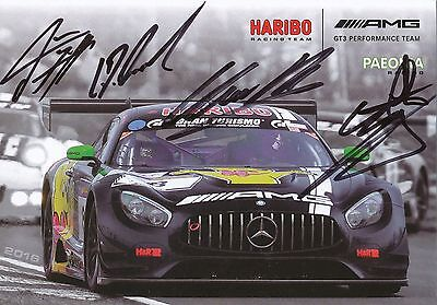 AMG GT3 Performance Mercedes Team 2016 Motorsport Autogrammkarte signiert 280091