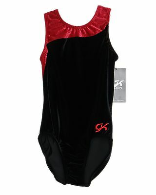 GK Elite Gymnastics Leotard - Black Velvet - AXS Adult Extra Small NEW