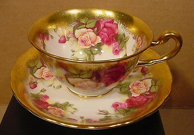 Royal Chelsea Heavy Gold Edge Golden Rose Teacup and Saucer Made in England