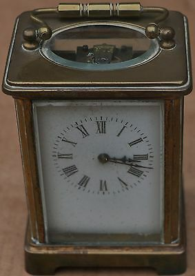 Old Very Dirty Brass Carriage Clock With Bevelled Glass To Restore
