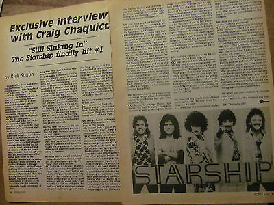 Jefferson Airplane, Starship, Craig Chaquico, Two Page Vintage Clipping
