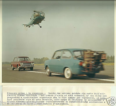 Fiat 850 & 1300 Berlina With Helicopter Filming Crash Test Original Photograph