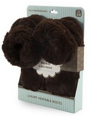 Intelex Cozy Microwavable Boots Brown Heatable Luxury Furry Bed Warmer Slippers