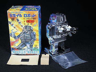 Tps Missile Space Robot Mechanical Chrome Plastic Rocket Shooting Windup Toy Box