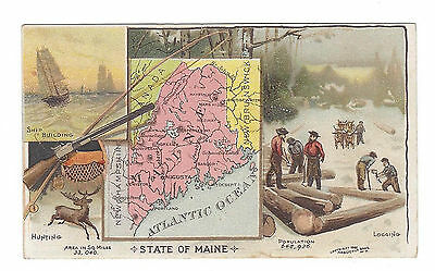 """1889 Arbuckle Trading Card Map """"Maine""""- hunting, shipbuilding, logging"""