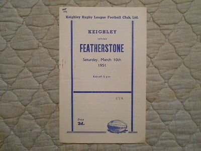 Keighley V Featherstone Rugby League Match Programme March 1951