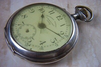 AN O. DUSHONCHET OF CAIRO SILVER TRAMWAY POCKET WATCH c.1920'S NEEDS A SERVICE