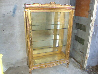 Antique Vitrine Large Gilded Shop Display Cabinet Museum Quality Ultra Chic