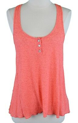 b7764621d4c59 FREE PEOPLE Women's Bright Melon Ribbed / Distressed High-Low Top Sz Small  NWOT
