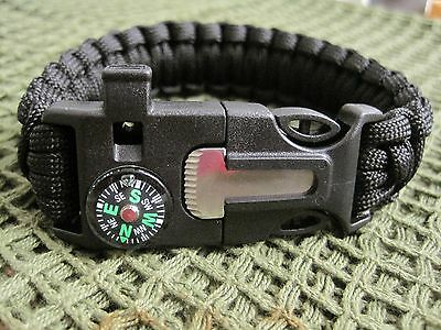 Black Paracord Bracelet With  Flint/steel + Whistle + Compass - Gift