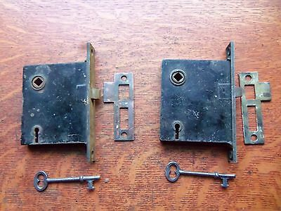 Two Antique Brass Working Mortise Locks with Keys & Strikers c1885