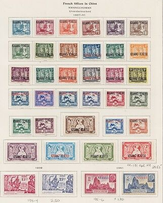 1937 -1941French Kwangchowan 3 Complete Issues - Mint With Gum On Old Abum Page