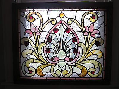 c.1890 Antique Combination Victorian Parlor Stained Glass Window, 15 jewels